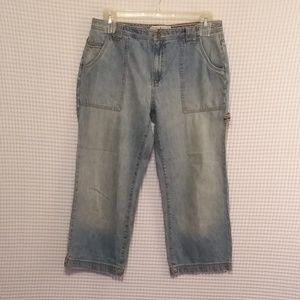TOMMY HILFIGER LIGHT WASH CROPPED CARPENTER JEANS